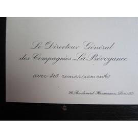Carte De Visite Du Directeur General Des Compagnies La Prevoyance Paris Avec Mention Manuscrite Sans Date