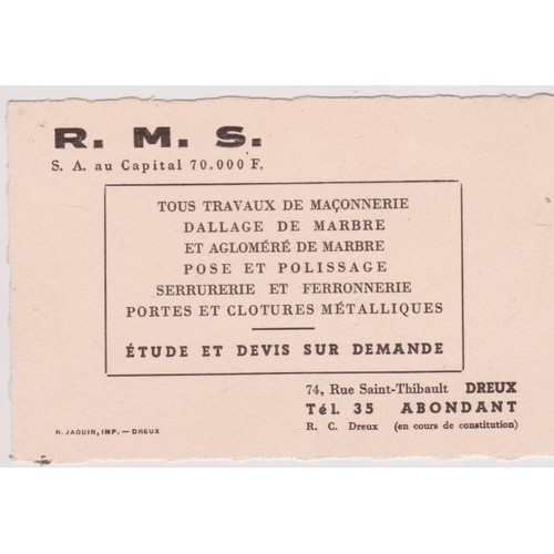Carte De Visite Professionnelle Ancienne RMS Dreux