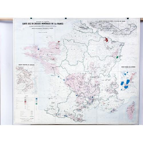 Carte des richesses min rales de la france tablie par la - Bureau de recherche geologique et miniere ...