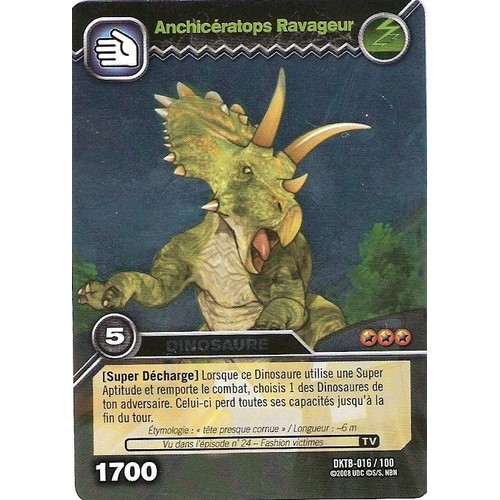 Carte dinosaur king anchiceratops ravageur dktb 016 100 holo dinosaure 1700 - Carte dinosaure king ...