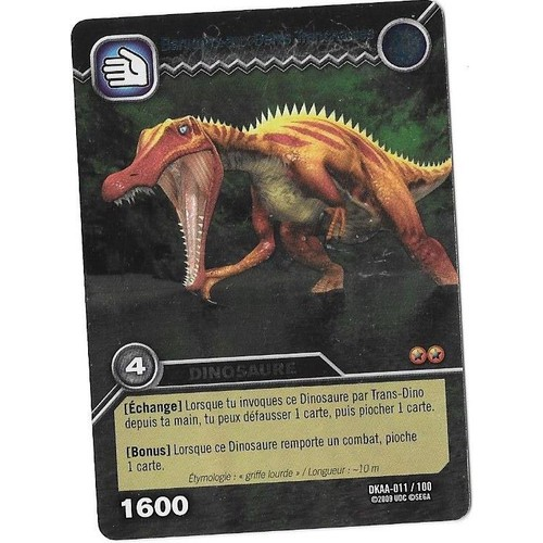 Carte dinosaur king baryonyx aux dents tranchantes dkaa 011 100 dinosaure 1600 holo - Carte dinosaure king ...