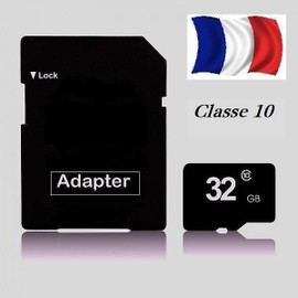 carte micro sdhc 32go classe 10 avec adaptateur sd pas cher. Black Bedroom Furniture Sets. Home Design Ideas
