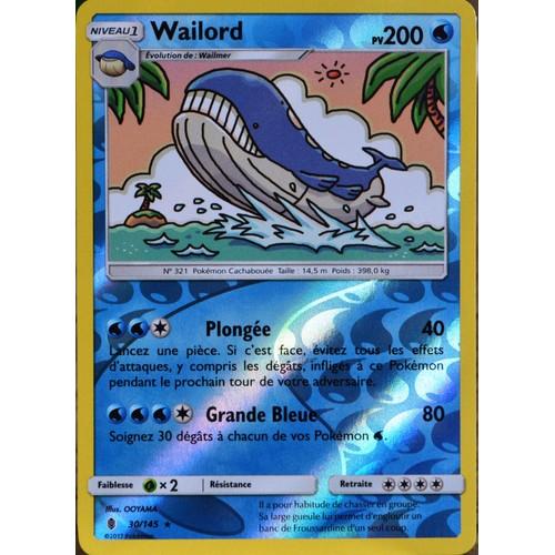 Carte pok mon 30 145 wailord 200 pv reverse neuf et d - Carte pokemon wailord ...