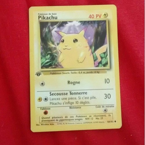 carte pokemon de base pikachu premi re dition neuf et d 39 occasion. Black Bedroom Furniture Sets. Home Design Ideas