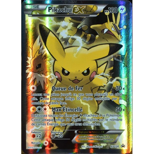 carte pok mon xy124 pikachu ex 130 pv full art promo neuf fr. Black Bedroom Furniture Sets. Home Design Ideas