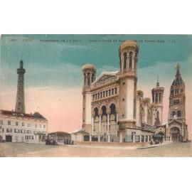 """Carte Postale """" Lyon """" Rare Années 1916 Colorisée - N°12 - Basilique Fourvière - Édition Carrier ..."""