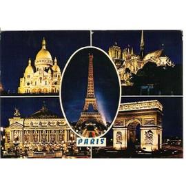 carte postale 4 monuments de paris illumin s de nuit le sacr coeur notre dame l 39 op ra l 39 arc. Black Bedroom Furniture Sets. Home Design Ideas