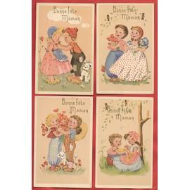 Carte Postale Ancienne Dessin D Un Petit Garcon Et D Une Petite