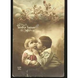 carte postale ancienne enfants tendre baiser achat et vente. Black Bedroom Furniture Sets. Home Design Ideas