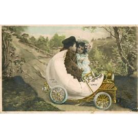 carte postale ancienne fantaisie france jeunes enfants dans une voiture le gar on embrasse la. Black Bedroom Furniture Sets. Home Design Ideas
