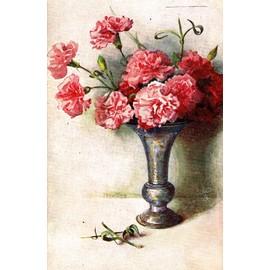 carte postale ancienne fleurs dans un vase oeillets achat et vente. Black Bedroom Furniture Sets. Home Design Ideas