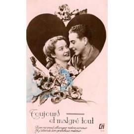 Carte postale ancienne france couple amoureux dans un - Un coeur amoureux ...