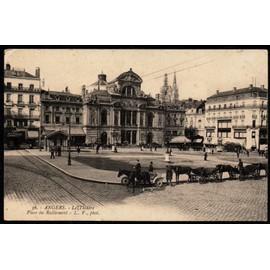 Carte Postale Ancienne France Maine Et Loire 49 Angers Le Théâtre Place Du Ralliement Voitures à Cheval Garées