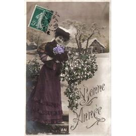 Carte Postale Ancienne, France, Nouvel An, Bonne Année, Femme Sous La Neige, Bouquet De Fleurs, Gui - Oblitération Janvier 1909
