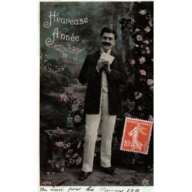 Carte Postale Ancienne, France, Voeux, Bonne Ann�e, Bouquet De Fleurs, Roses, Dahlias, Vase, Lettre - Texte 1911
