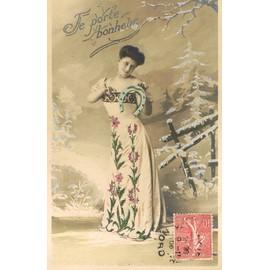carte postale ancienne je porte bonheur jeune femme dans un paysage hivernal fer cheval. Black Bedroom Furniture Sets. Home Design Ideas