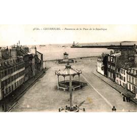 Carte Postale Ancienne, Manche ( 50 ), Cherbourg, Panorama De La Place De La R�publique