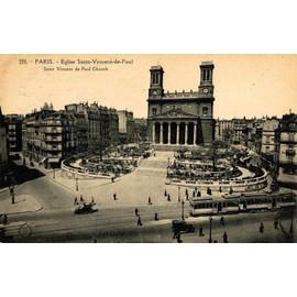 Carte Postale Ancienne, Paris ( 75 ), �glise Saint Vincent De Paul, Tramway