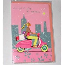 carte postale anniversaire jeune femme sur scooter cadeaux carte d pliante et double avec. Black Bedroom Furniture Sets. Home Design Ideas