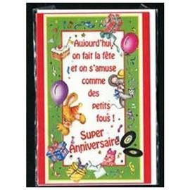 Carte Postale Anniversaire Pour Enfant - Ballons Confettis Lapin Souris Cadeaux - Carte Double ...