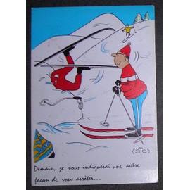 Carte Postale Humoristique Ski