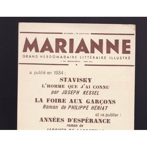 Carton publicitaire pour le journal marianne grand hebdomadaire litt raire i - Journal marianne adresse ...