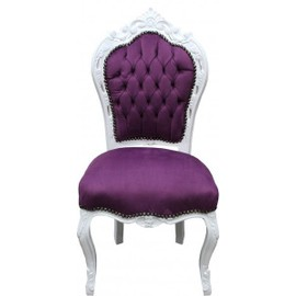 casa padrino baroque d ner chaise violet blanc style ancien. Black Bedroom Furniture Sets. Home Design Ideas