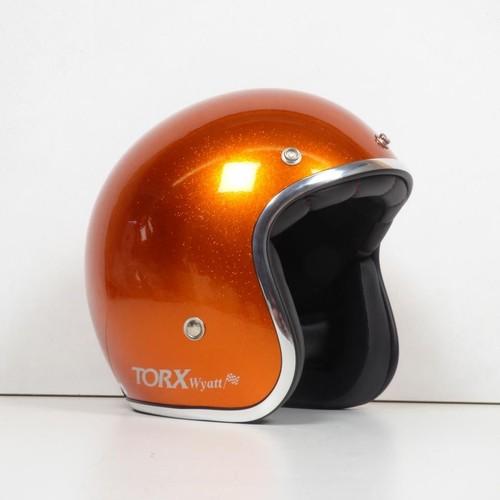 Casque Bol Jet Torx Wyatt Glitter Orange Pailleté Taille S Moto