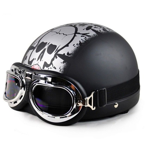 casque bol moto r tro t te de mort chopper scooter vespa harley cosplay biker style. Black Bedroom Furniture Sets. Home Design Ideas