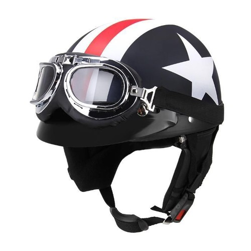 casque bol r tro drapeau am ricain usa america style vintage cosplay moto scooter. Black Bedroom Furniture Sets. Home Design Ideas