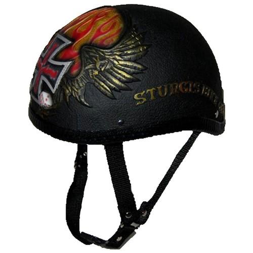 casque de motard allemand noir dices avec croix pattee aile feu et des a jouer sturgis. Black Bedroom Furniture Sets. Home Design Ideas