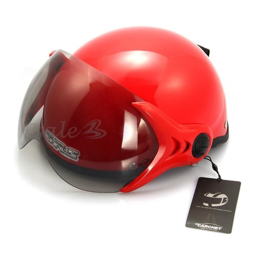 casque de moto scooter r glable casque jet rouge homme. Black Bedroom Furniture Sets. Home Design Ideas