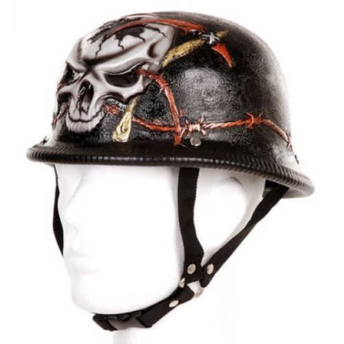 casque motard allemand noir barbed wire avec tete de mort fil de fer barbele et faux 212170 3403. Black Bedroom Furniture Sets. Home Design Ideas