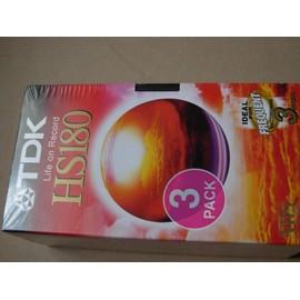 cassette vid o vhs vierge tdk hs 180 pack de 3 achat et. Black Bedroom Furniture Sets. Home Design Ideas