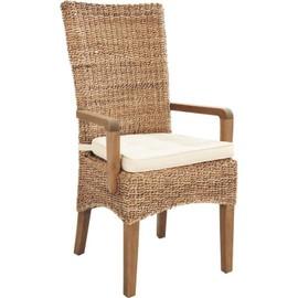 Chaise Avec Accoudoirs En Abaca Et Teck