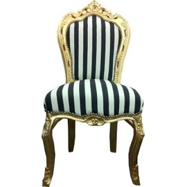 Chaise Baroque Salle A Manger Noir Blanc Rayures Or