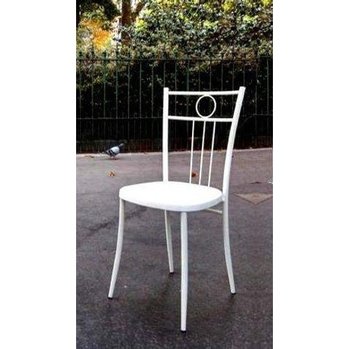 Chaise bistrot bar troquet blanche acier laque siege for Chaise de bistrot blanche