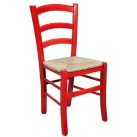 chaise en bois massif d htre finition rouge laque et assise paille l45xpr45xh88 cm - Chaise Hetre Assise Paille