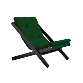 Chaise Longue En Tissu Vert Avec Assise Futon Et Pieds Bois Noir Boogie