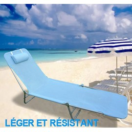Chaise longue pliante bain de soleil inclinable transat for Transat de plage pliant