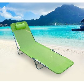 chaise longue pliante bain de soleil inclinable transat textilene lit jardin plage vert 35. Black Bedroom Furniture Sets. Home Design Ideas