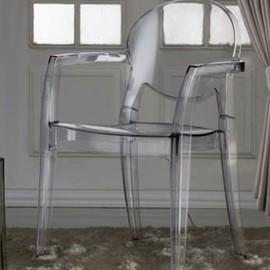 Chaise Transparente Avec Accoudoirs Assia Lot De 4