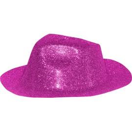 chapeau al capone paillettes plastique couleur assortie argent rose fuschia noir or rouge bleu turquoise borsalino adulte cotillons deguisement disco nouvel
