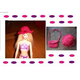 Chapeau Et Sac Coordonn� Pour Poup�e Barbie - Au Crochet