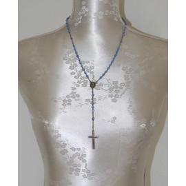 Chapelet Ancien Perles Bleues M�tal Argent�