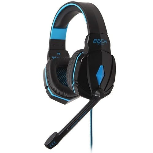chaque g4000 gaming headset conduit casque st r o avec micro pour pc bleu. Black Bedroom Furniture Sets. Home Design Ideas