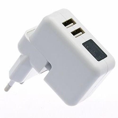 chargeur adaptateur secteur double usb pour ipad iphone ipod console portable 5v. Black Bedroom Furniture Sets. Home Design Ideas