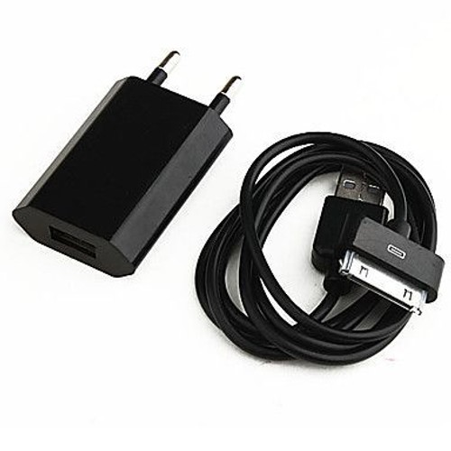 Chargeur secteur c ble usb iphone 3 4 5 ipod ipad noir for Chargeur mural iphone