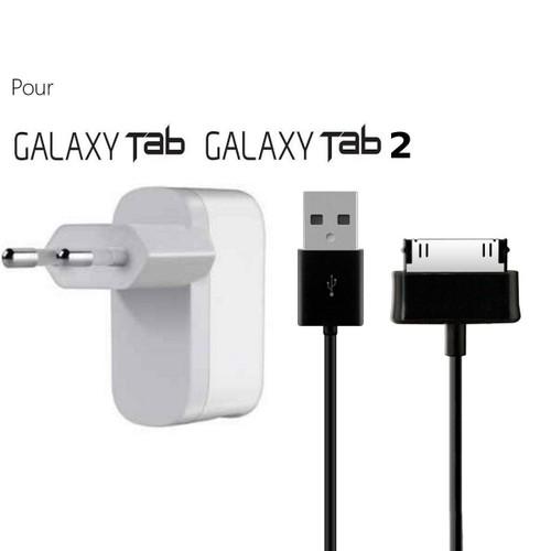 chargeur secteur et cable synchro pour le samsung galaxy tab tab2. Black Bedroom Furniture Sets. Home Design Ideas