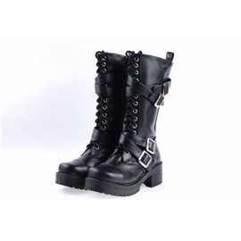 chaussures bottes hautes boots bottines cavalier moto motard cuir tendance mode chic vintage. Black Bedroom Furniture Sets. Home Design Ideas